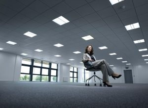 business women in her new empty office