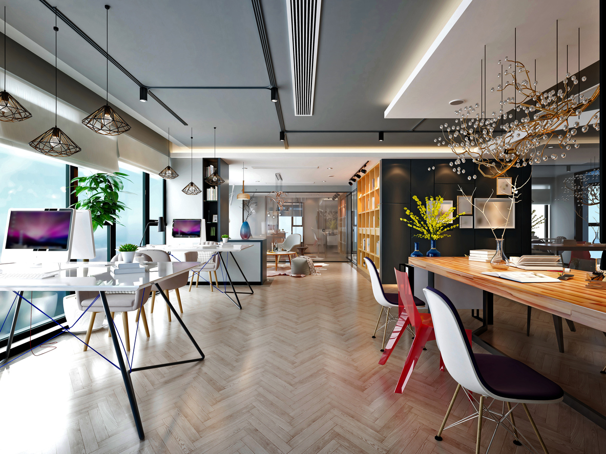 Modern and luxury office interior, large working space