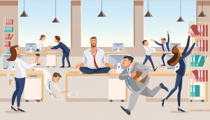 Office worker meditating at workplace vector